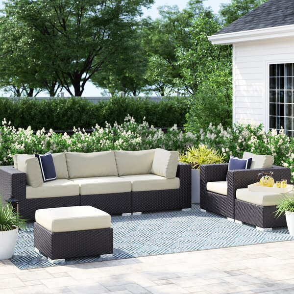 Brentwood 6 Piece Rattan Sectional Seating Group with Cushions