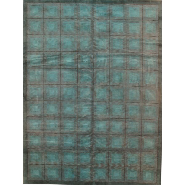 Modern Hand-Knotted Wool Light Blue Area Rug by Pasargad NY