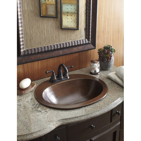 Seville Copper Oval Drop-In Bathroom Sink with Ove