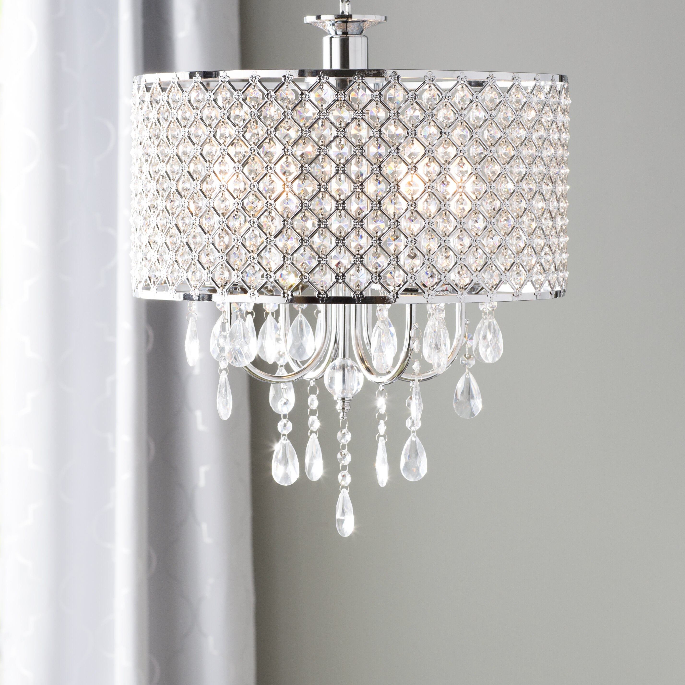 Willa Arlo Interiors Aurore 4 Light Led Crystal Chandelier Reviews Wayfair