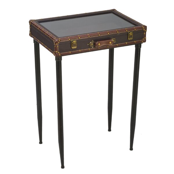 Schipper Glass Top Suitcase End Table by Williston Forge