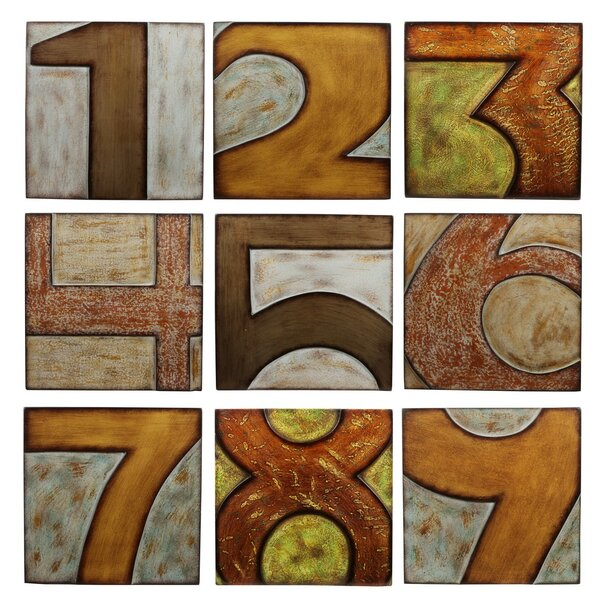 Wood Numbered 9 Piece Textual Art Plaque Set by Privilege