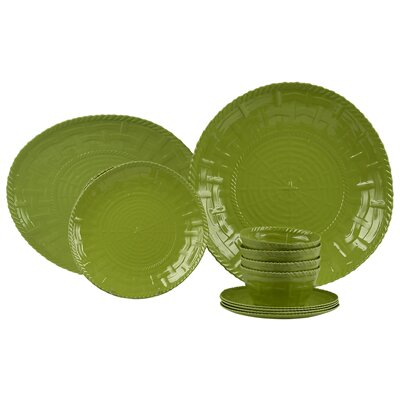 Woven Melamine 14 Piece Dinnerware Set, Service for 4 by Encore Concepts