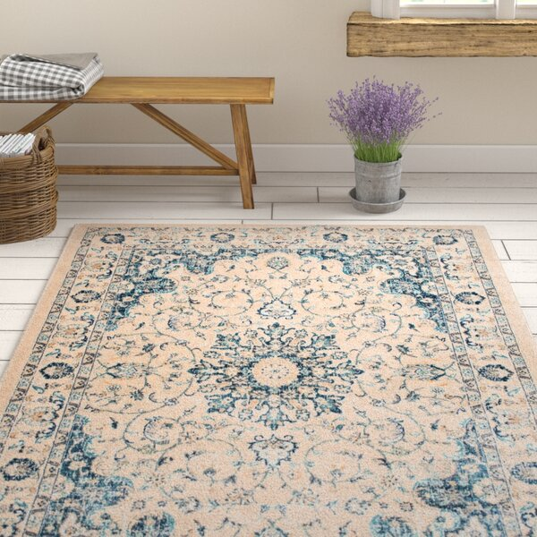 Aquila Medallion Cream/Blue Area Rug by Ophelia & Co.