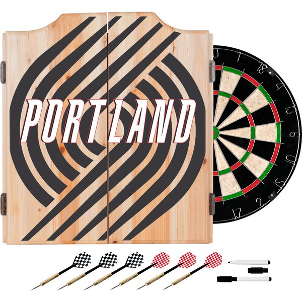 NBA Fade Dartboard and Cabinet Set by Trademark Global