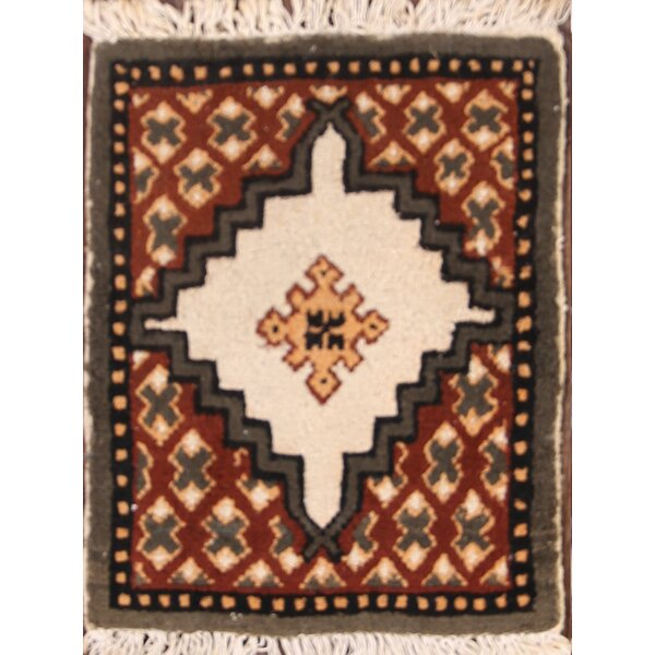 Imperial Moroccan Oriental Hand-Knotted Wool Beige/Red/Black Area Rug by Bloomsbury Market