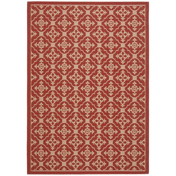 Short Red / Creme Indoor/Outdoor Rug by Winston Porter