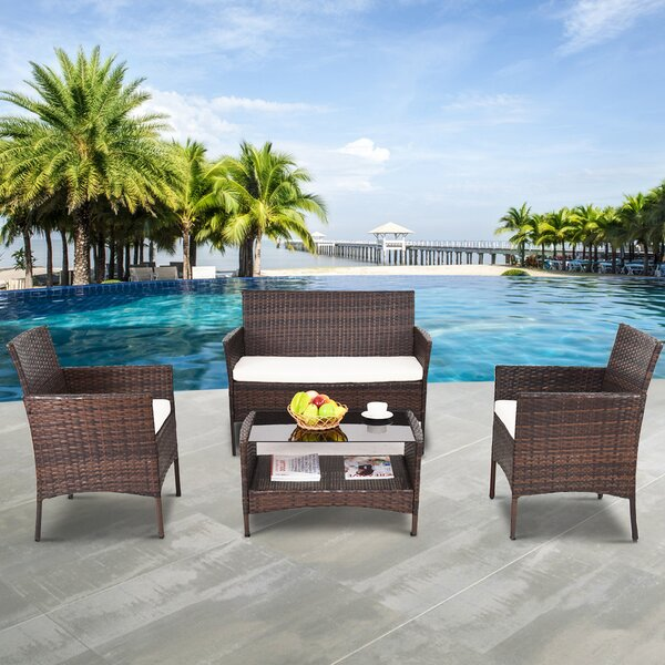 Jasmin Outdoor Patio 4 Piece Rattan Sofa Seating Group with Cushions by Bay Isle Home