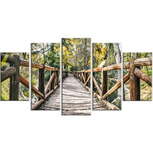 'Wooden Bridge in Forest Wooden Sea Bridge' 5 Piece Wall Art on Wrapped Canvas Set by Design Art