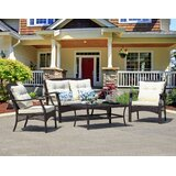 Adelita 4 Piece Rattan Sofa Seating Group with Cushions by August Grove