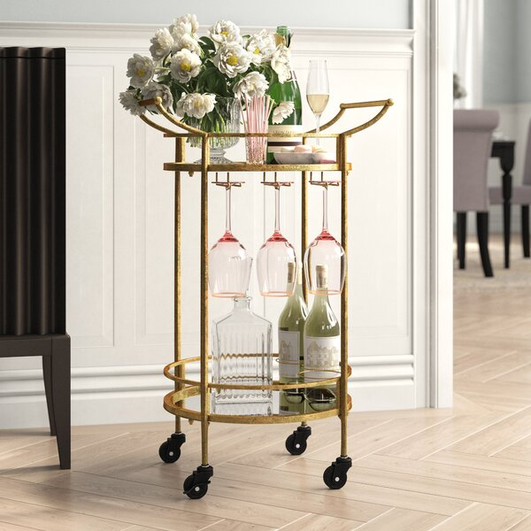 Round Metal Bar Cart by House of Hampton House of Hampton