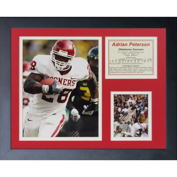 Adrian Peterson - Oklahoma Away Framed Memorabilia by Legends Never Die