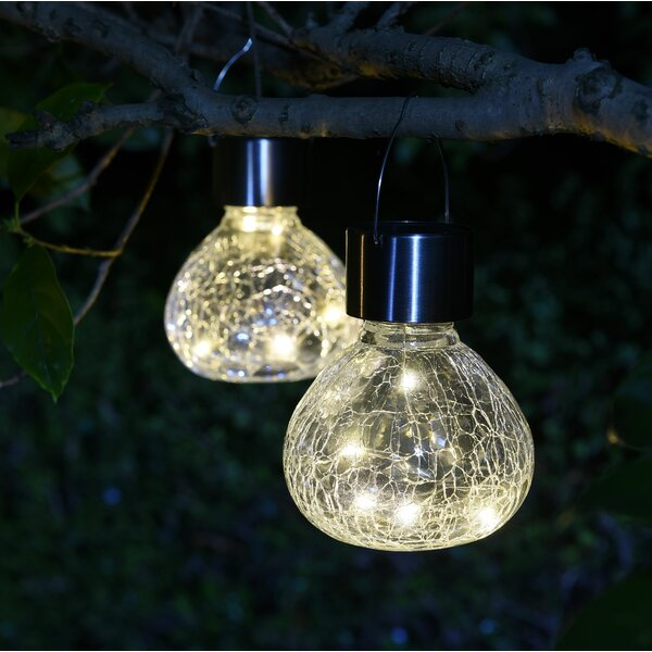 Crackle Mini Jar Solar 2 Piece LED Landscape Light