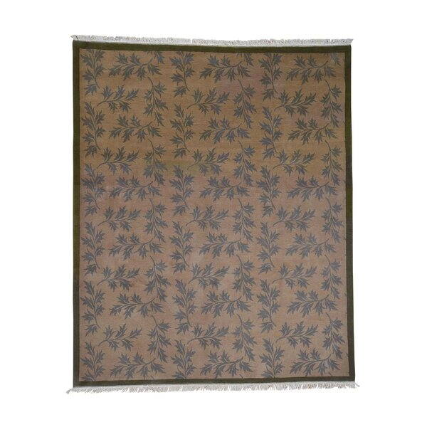 One-of-a-Kind Pennyfield Modern Nepali Leaf Hand-Knotted Brown Area Rug by World Menagerie