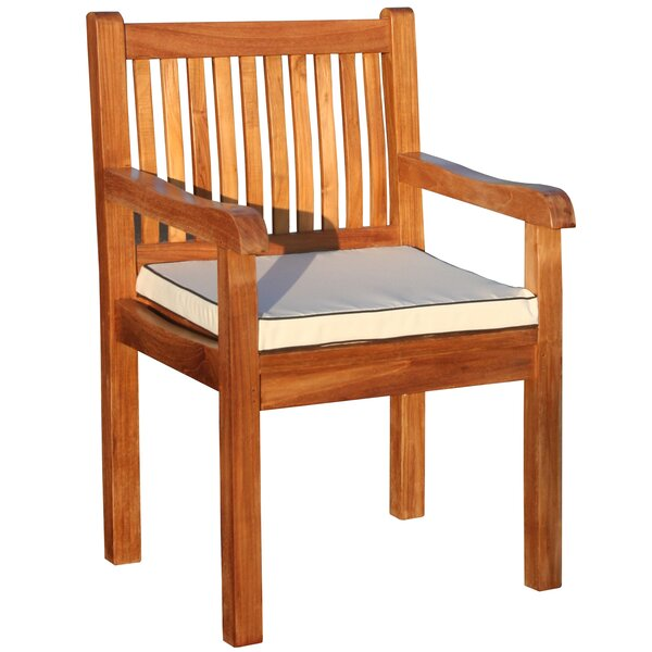 Elzas Teak Patio Dining Chair with Cushion by Darby Home Co