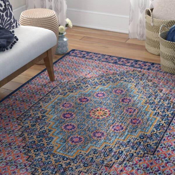 Arabi Oriental Blue/Orange Area Rug by Bungalow Rose