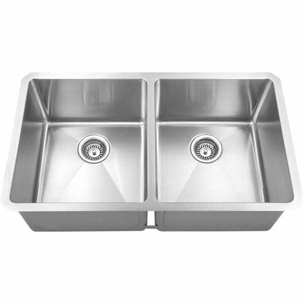 Bowie Stainless Steel 32 L x 19 W Double Basin Farmhouse Kitchen Sink