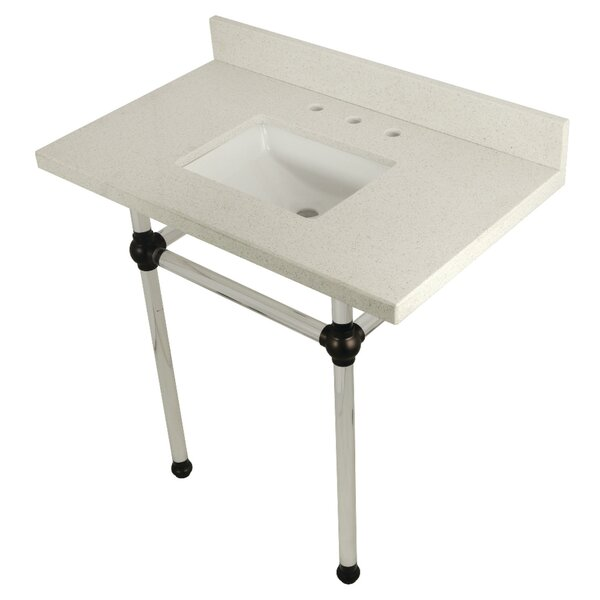 Templeton Stone Rectangular Undermount Bathroom Sink with Overflow by Kingston Brass