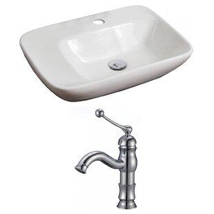 Ceramic Rectangular Vessel Bathroom Sink with Faucet ByAmerican Imaginations