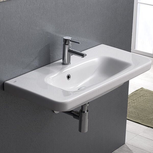 Noura Plus Ceramic Rectangular Drop-In Bathroom Sink with Overflow by CeraStyle by Nameeks