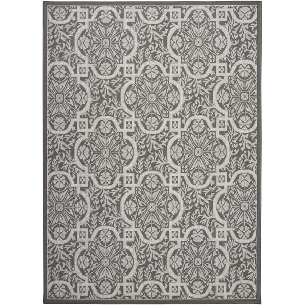Presswood Geometric Gray Indoor/Outdoor Area Rug by House of Hampton