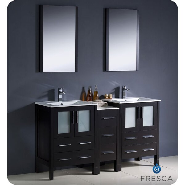 Torino 60 Double Sink Bathroom Vanity Set with Mirror by Fresca