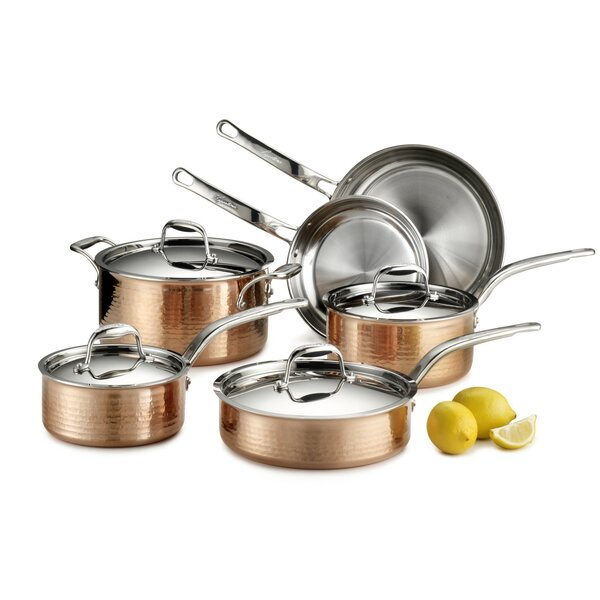 Martellata 10 Piece Copper Cookware Set by Lagosti