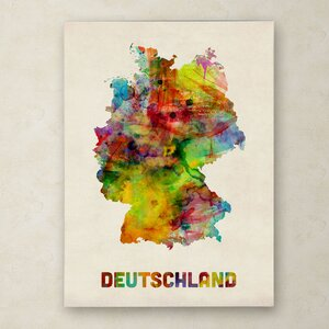 Germany Watercolor Map by Michael Tompsett Graphic Art on Wrapped Canvas by Trademark Fine Art