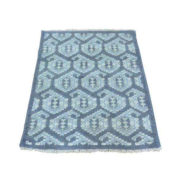 One-of-a-Kind Dessie Paisley Knot Hand-Knotted Blue Area Rug by Bungalow Rose