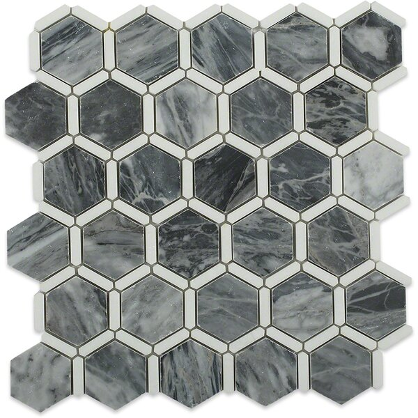 Ambrosia 2 x 2 Marble Mosaic Tile in Dark Gray/White by Splashback Tile