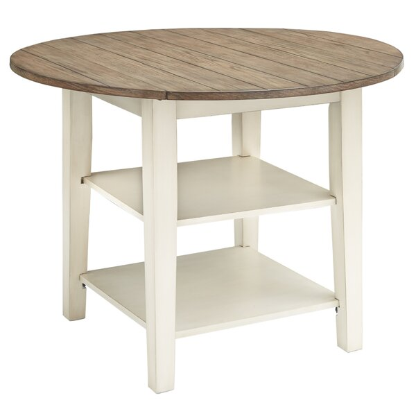 Mackin Round Drop Leaf Solid Wood Dining Table by Highland Dunes