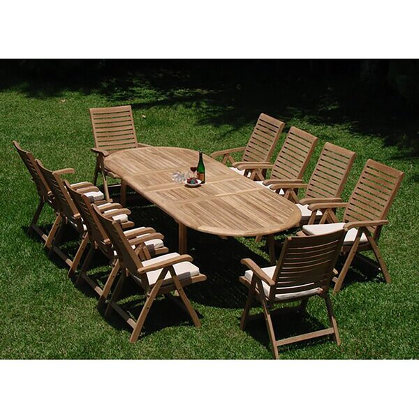 Tre Luxurious 11 Piece Teak Dining Set by Rosecliff Heights