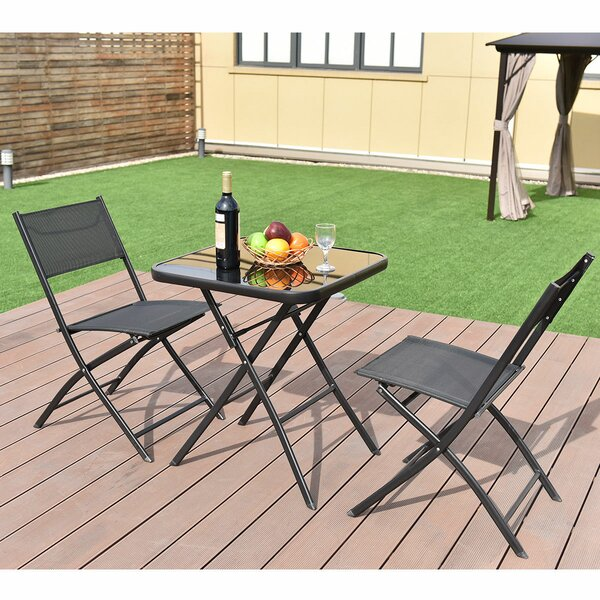 Ece Folding Square 3 Piece Bistro Set by Latitude Run