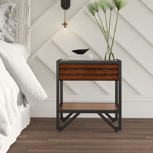 Lund Wood 1 Drawer Nightstand by Mercury Row