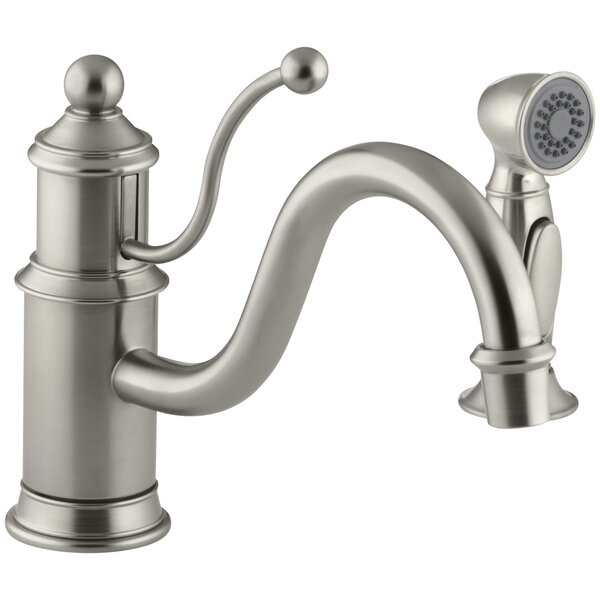 Antique Single-Hole Kitchen Sink Faucet with 8-7/8 Spout, Color-Matched Sidespray and Lever Handle by Kohler
