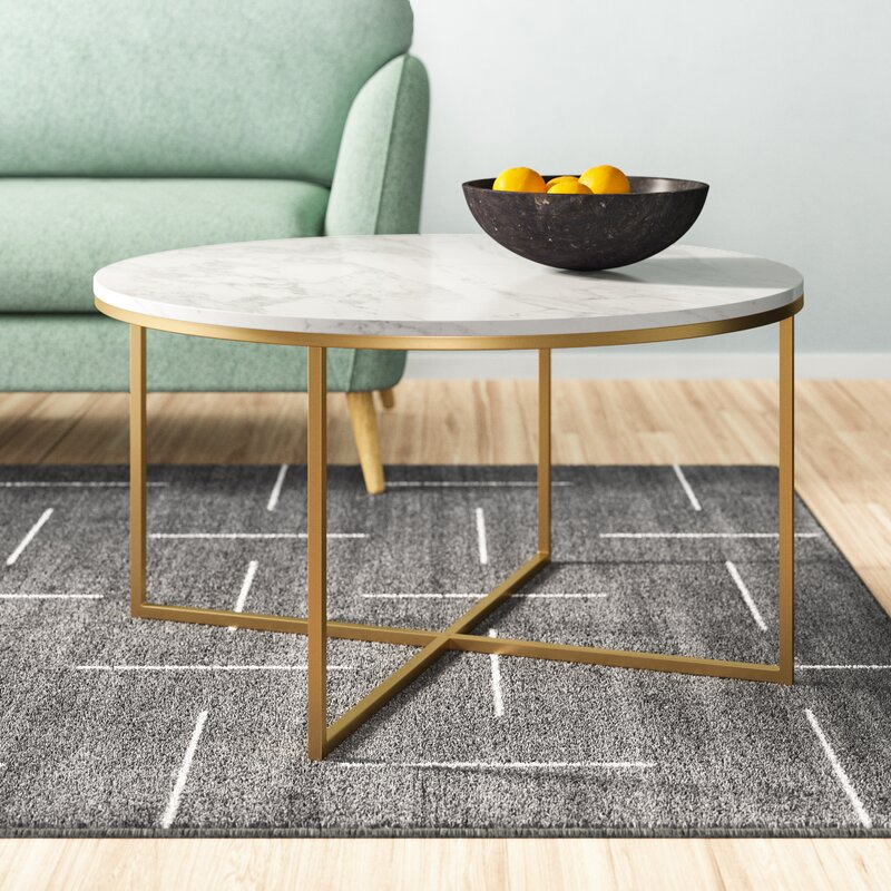 White Faux Marble Wasser Coffee Table by Mistana