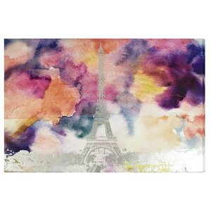 'Paris Eiffel Watercolor' Silver Foil Graphic Art on Canvas by Willa Arlo Interiors