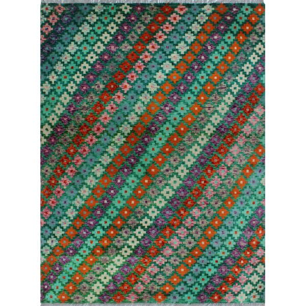 One-of-a-Kind Millender Kamau Hand-Knotted Wool Green Area Rug by Bloomsbury Market