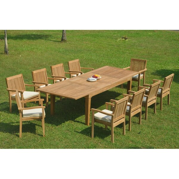 Ralon 11 Piece Teak Dining Set by Rosecliff Heights