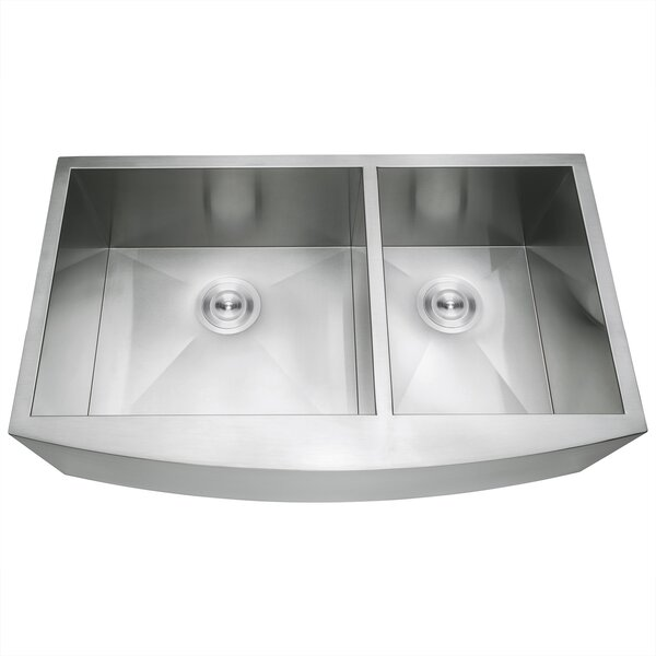 33 L x 20 W Double Basin Farmhouse/Apron Kitchen Sink with Sink Grid and Basket Strainer by AKDY