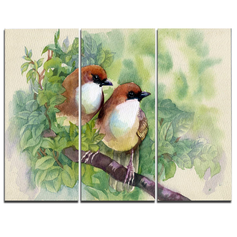 Designart Birds Of Spring 3 Piece Painting Print On Wrapped Canvas Set Wayfair