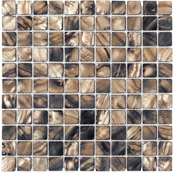Noburu 1 x 1 Glass Pearl Shell Glass Mosaic Tile in Silver by Splashback Tile