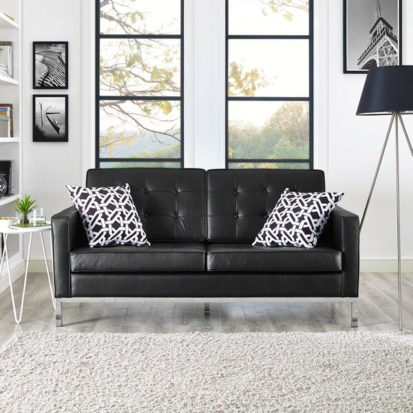 Famous Brands Gayatri Leather Loveseat by Orren Ellis by Orren Ellis