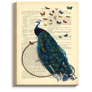 'Peacock Bicycle Butterflies' by Madame Memento Graphic Art on Wrapped Canvas by DiaNoche Designs