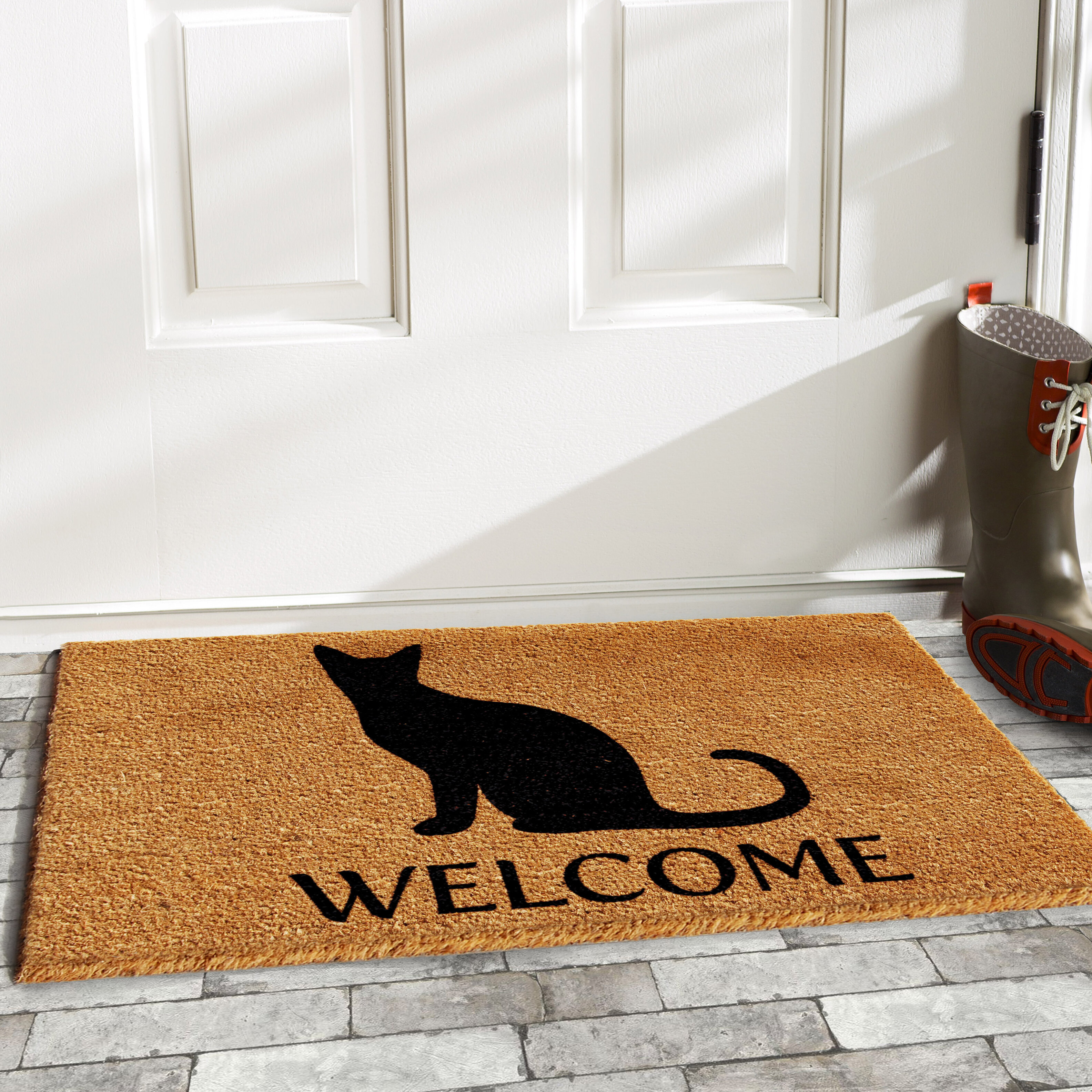 underground mind british olefin mats natural doormat multi welcome mat sign pin the cat