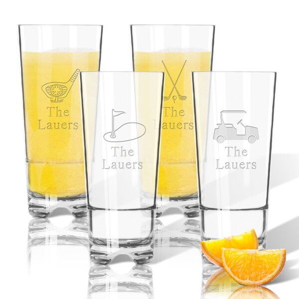 Tritan Golf with Name 16 oz. Highball Glass (Set of 4) by Carved Solutions