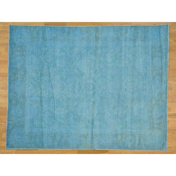 One-of-a-Kind Beaumont Overdyed Hand-Knotted Blue Wool Area Rug by Isabelline
