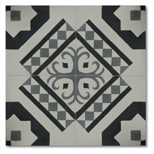 Bouman 8 x 8 Handmade Cement Tile in Black and Gray by Moroccan Mosaic