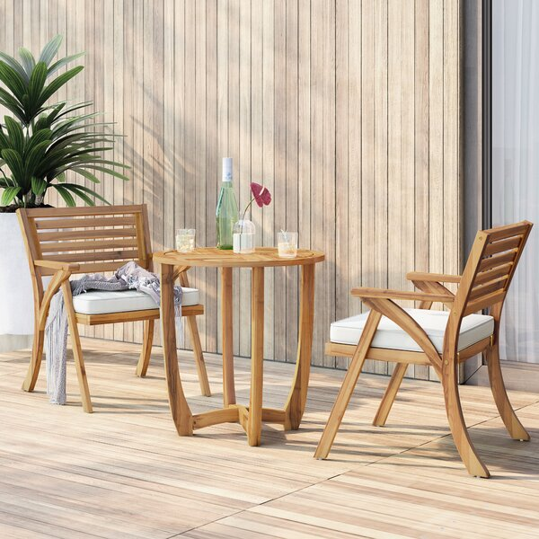 3 Piece Teak Bistro Set With Cushions By Mercury Row