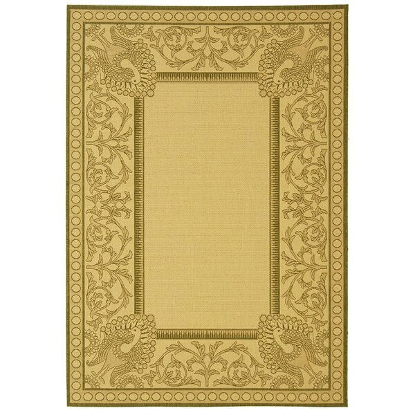 Catori Natural / Olive Outdoor Area Rug by World Menagerie